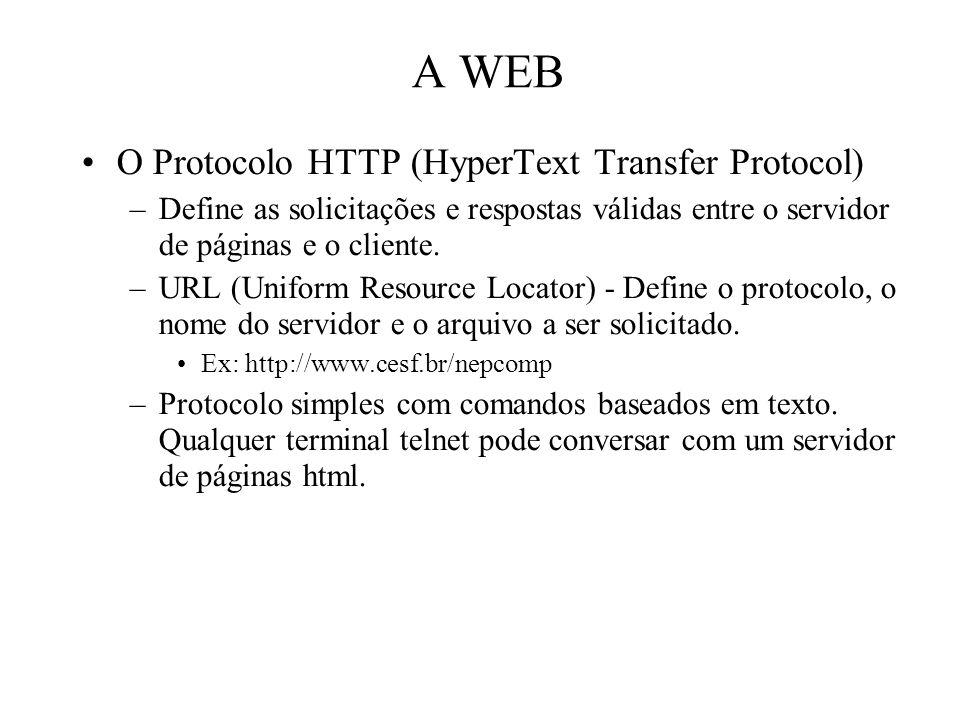 A WEB O Protocolo HTTP (HyperText Transfer Protocol) –Define as solicitações e respostas válidas entre o servidor de páginas e o cliente. –URL (Unifo
