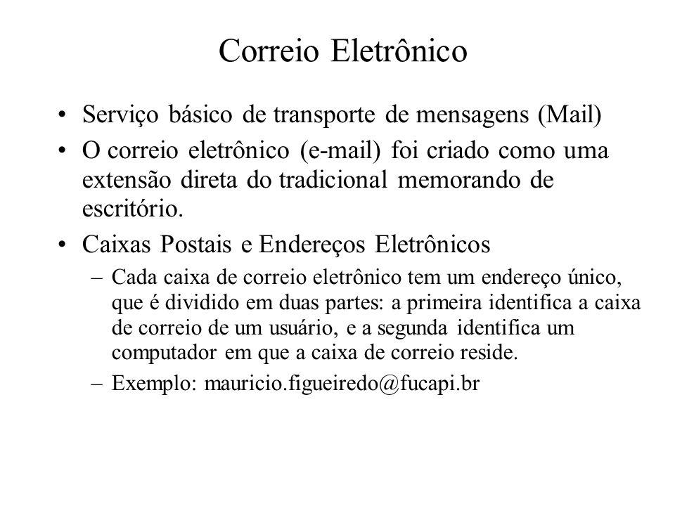 Serviço básico de transporte de mensagens (Mail) O correio eletrônico (e-mail) foi criado como uma extensão direta do tradicional memorando de escrit
