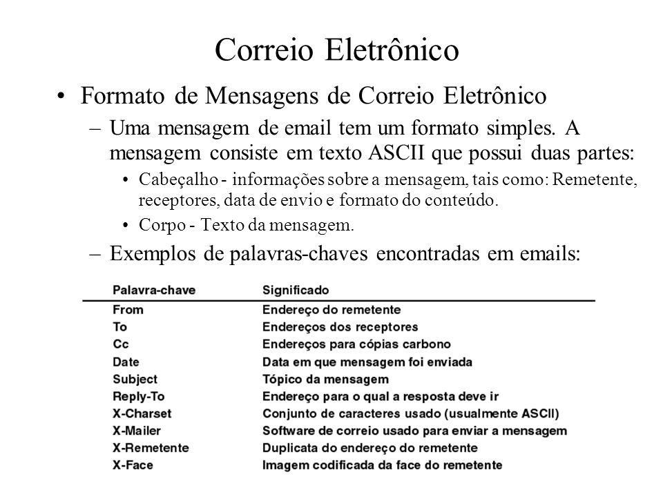 Correio Eletrônico Formato de Mensagens de Correio Eletrônico –Uma mensagem de email tem um formato simples. A mensagem consiste em texto ASCII que po