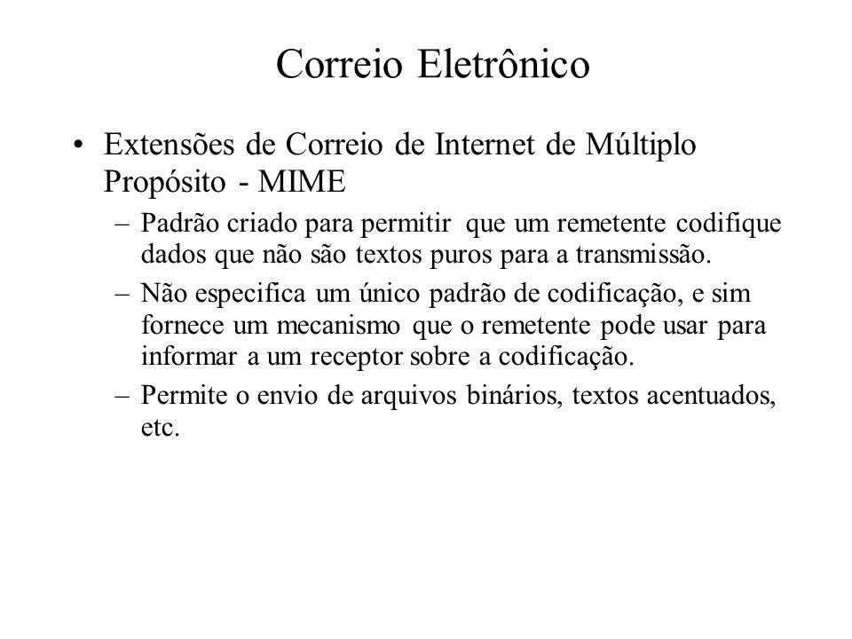Correio Eletrônico Extensões de Correio de Internet de Múltiplo Propósito - MIME –Padrão criado para permitir que um remetente codifique dados que não