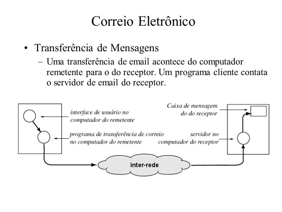 Correio Eletrônico Transferência de Mensagens –Uma transferência de email acontece do computador remetente para o do receptor. Um programa cliente con
