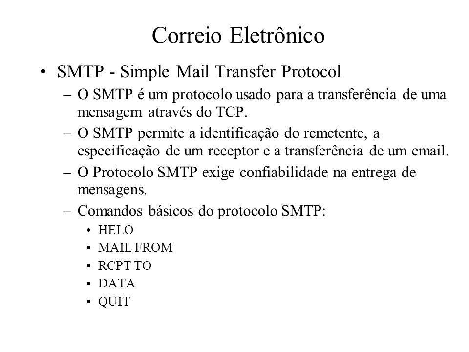 Correio Eletrônico SMTP - Simple Mail Transfer Protocol –O SMTP é um protocolo usado para a transferência de uma mensagem através do TCP. –O SMTP perm