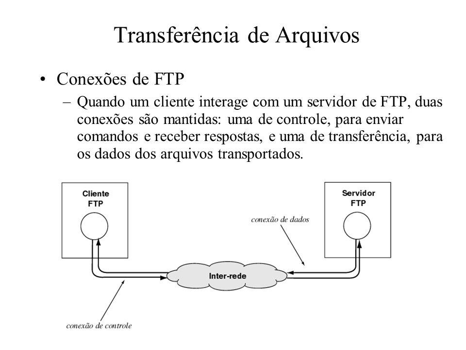 Transferência de Arquivos Conexões de FTP –Quando um cliente interage com um servidor de FTP, duas conexões são mantidas: uma de controle, para enviar