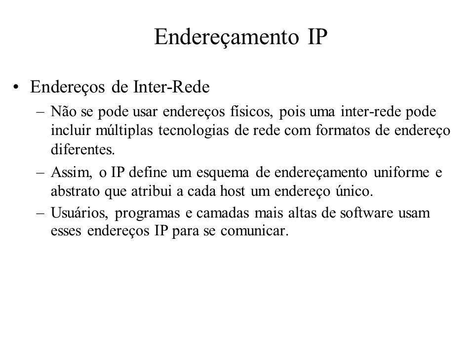 Endereçamento IP Endereços de Inter-Rede –Não se pode usar endereços físicos, pois uma inter-rede pode incluir múltiplas tecnologias de rede com forma