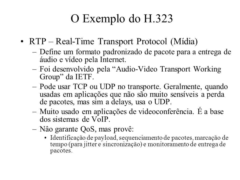 RTP – Real-Time Transport Protocol (Mídia) –Define um formato padronizado de pacote para a entrega de áudio e vídeo pela Internet. –Foi desenvolvido p