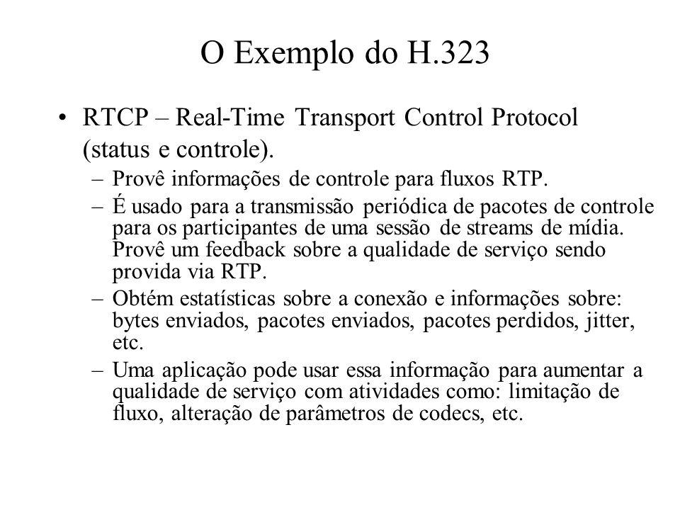 O Exemplo do H.323 RTCP – Real-Time Transport Control Protocol (status e controle). –Provê informações de controle para fluxos RTP. –É usado para a tr