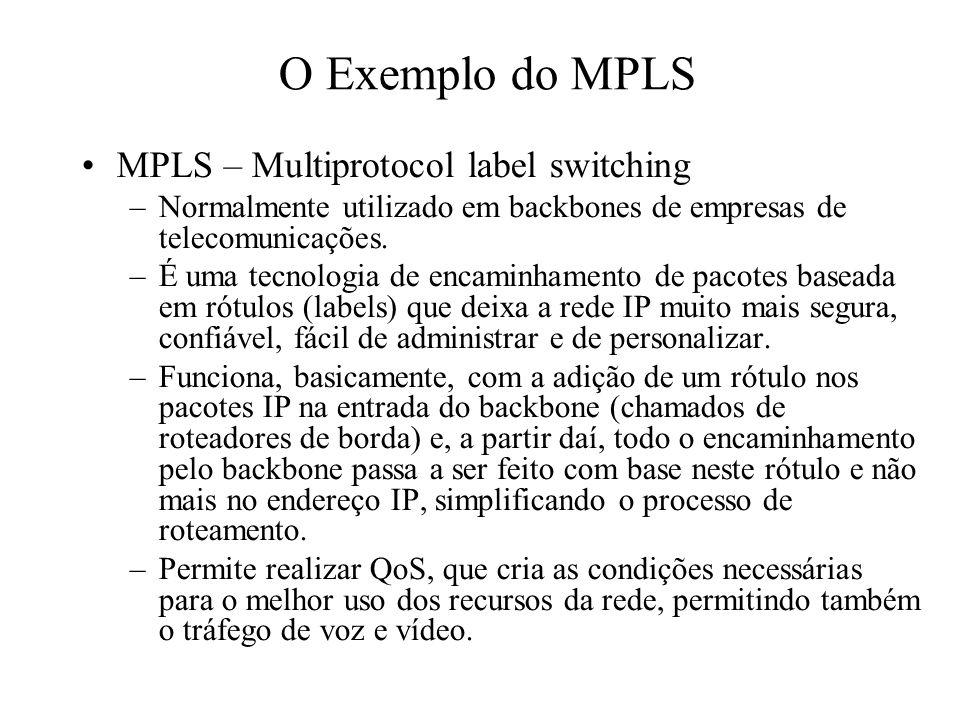 O Exemplo do MPLS MPLS – Multiprotocol label switching –Normalmente utilizado em backbones de empresas de telecomunicações. –É uma tecnologia de encam