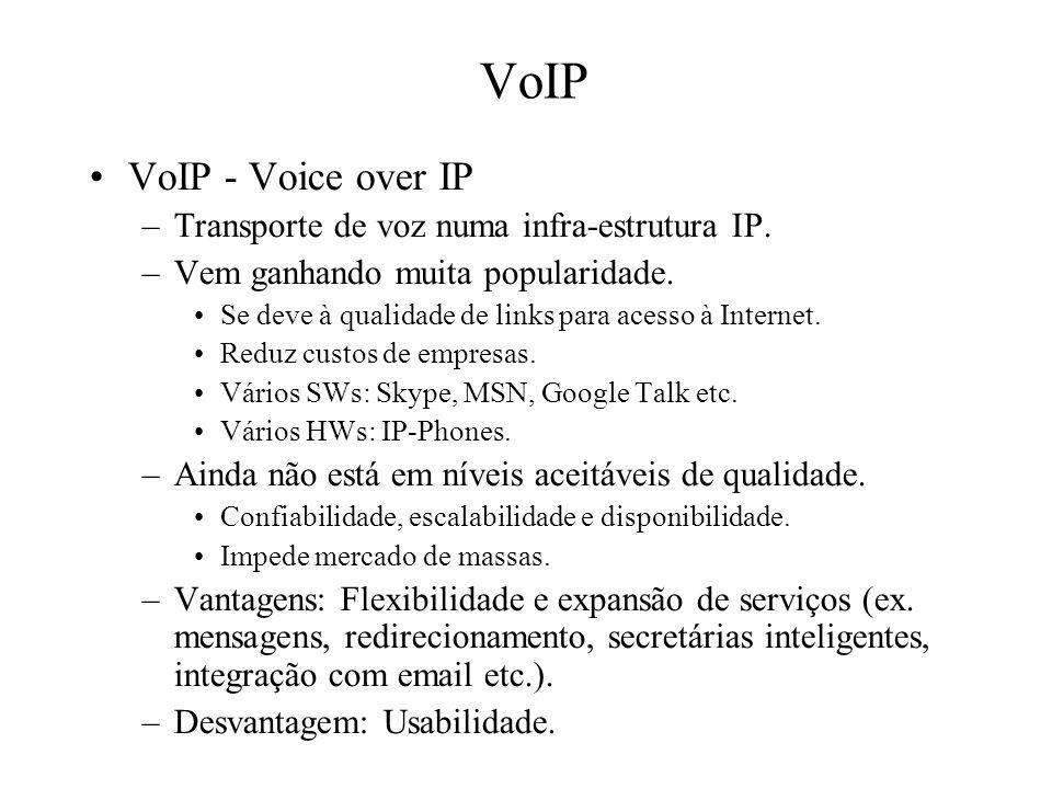 VoIP VoIP - Voice over IP –Transporte de voz numa infra-estrutura IP. –Vem ganhando muita popularidade. Se deve à qualidade de links para acesso à Int