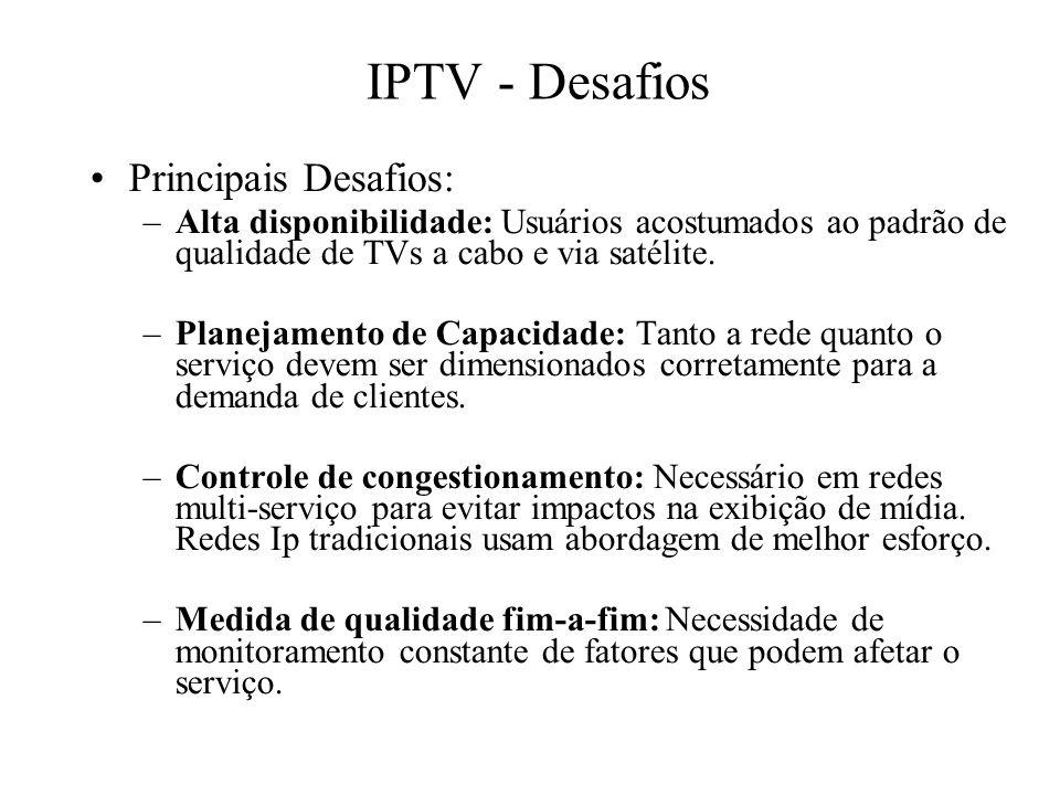 IPTV - Desafios Principais Desafios: –Alta disponibilidade: Usuários acostumados ao padrão de qualidade de TVs a cabo e via satélite. –Planejamento de