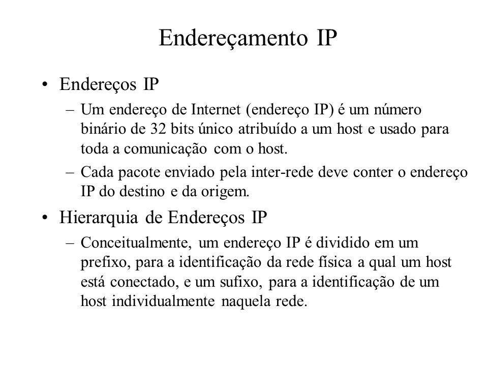 Endereçamento IP Endereços IP –Um endereço de Internet (endereço IP) é um número binário de 32 bits único atribuído a um host e usado para toda a comu