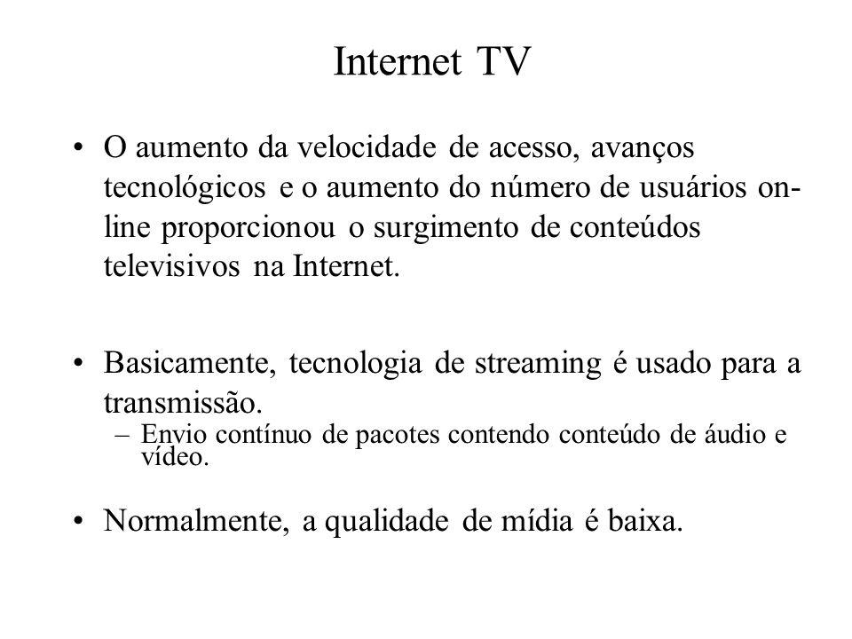 Internet TV O aumento da velocidade de acesso, avanços tecnológicos e o aumento do número de usuários on- line proporcionou o surgimento de conteúdos