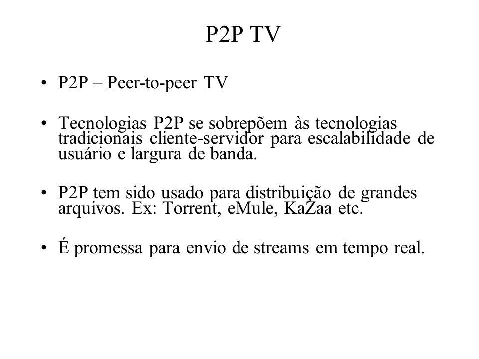 P2P TV P2P – Peer-to-peer TV Tecnologias P2P se sobrepõem às tecnologias tradicionais cliente-servidor para escalabilidade de usuário e largura de ban