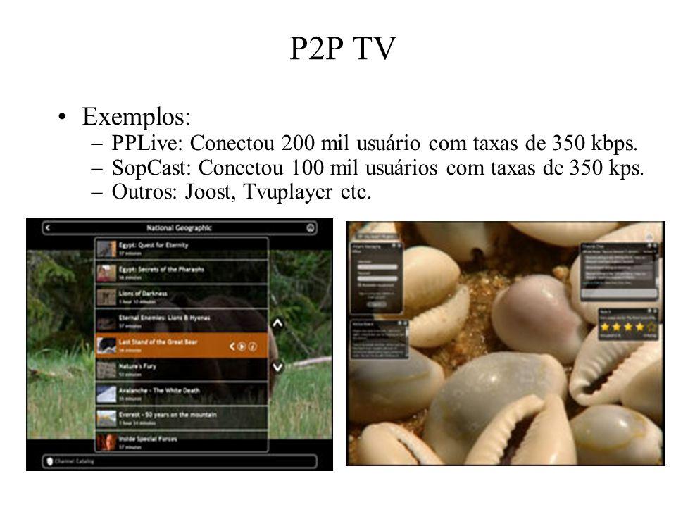 P2P TV Exemplos: –PPLive: Conectou 200 mil usuário com taxas de 350 kbps. –SopCast: Concetou 100 mil usuários com taxas de 350 kps. –Outros: Joost, Tv