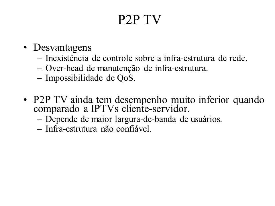 P2P TV Desvantagens –Inexistência de controle sobre a infra-estrutura de rede. –Over-head de manutenção de infra-estrutura. –Impossibilidade de QoS. P