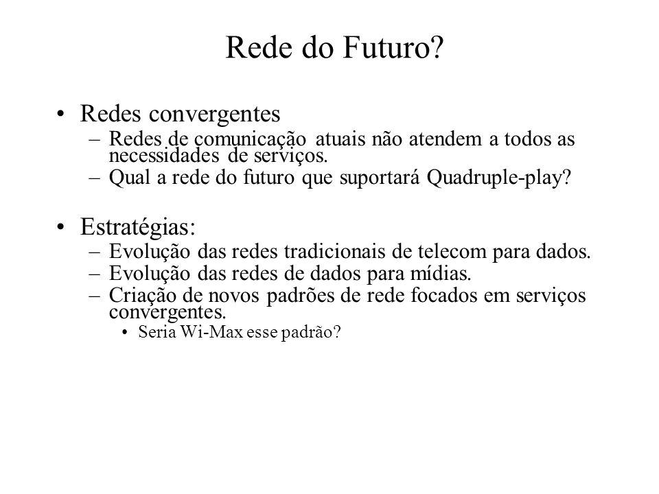 Rede do Futuro? Redes convergentes –Redes de comunicação atuais não atendem a todos as necessidades de serviços. –Qual a rede do futuro que suportará