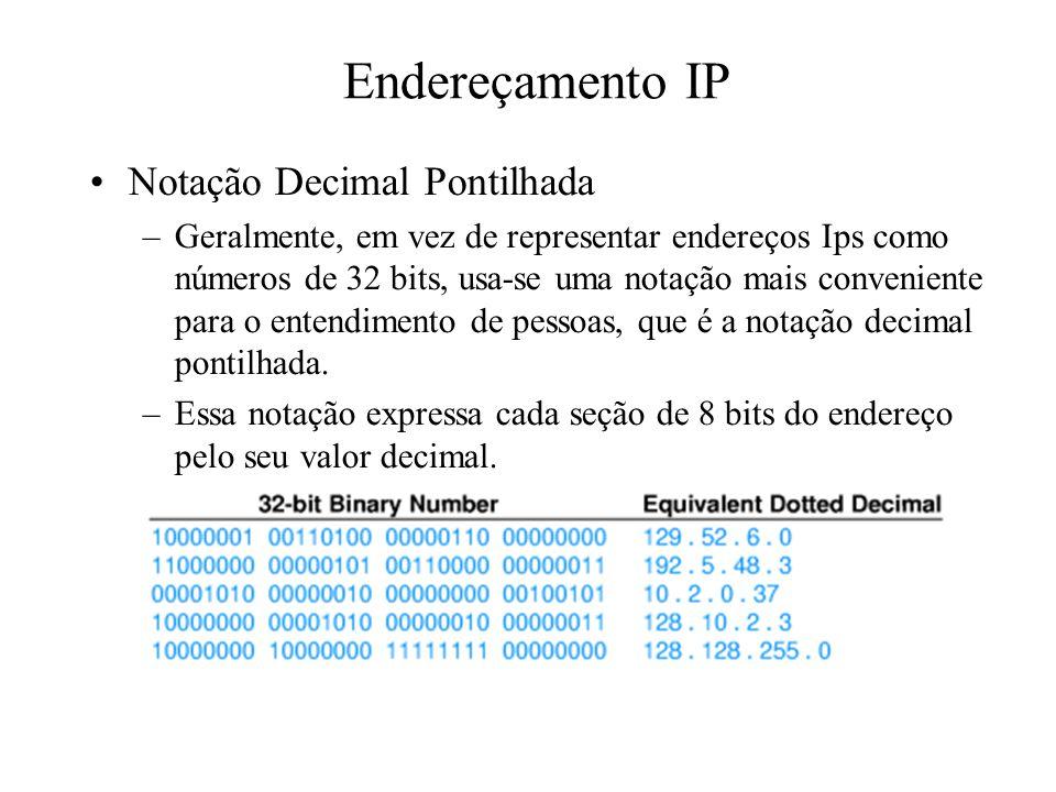 Endereçamento IP Notação Decimal Pontilhada –Geralmente, em vez de representar endereços Ips como números de 32 bits, usa-se uma notação mais convenie