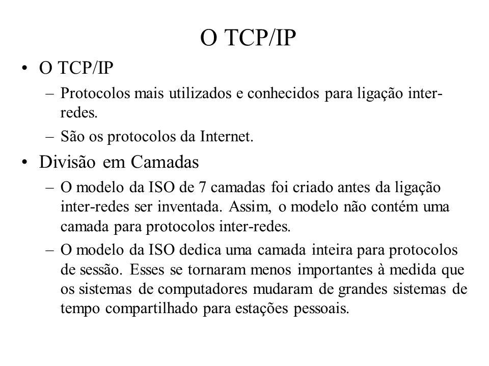 O TCP/IP –Protocolos mais utilizados e conhecidos para ligação inter- redes. –São os protocolos da Internet. Divisão em Camadas –O modelo da ISO de 7