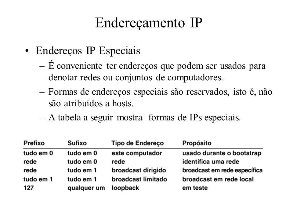Endereçamento IP Endereços IP Especiais –É conveniente ter endereços que podem ser usados para denotar redes ou conjuntos de computadores. –Formas de