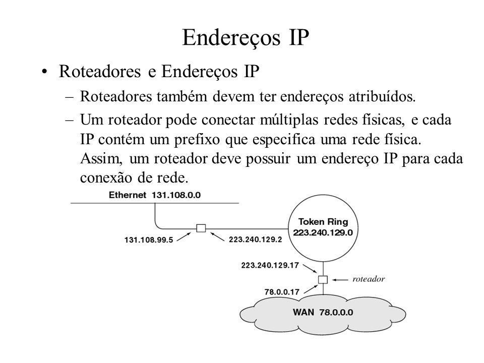 Endereços IP Roteadores e Endereços IP –Roteadores também devem ter endereços atribuídos. –Um roteador pode conectar múltiplas redes físicas, e cada I