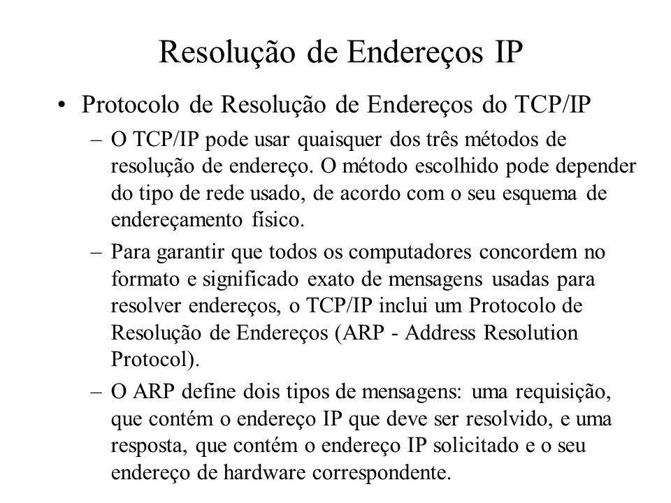 Resolução de Endereços IP Protocolo de Resolução de Endereços do TCP/IP –O TCP/IP pode usar quaisquer dos três métodos de resolução de endereço. O mét