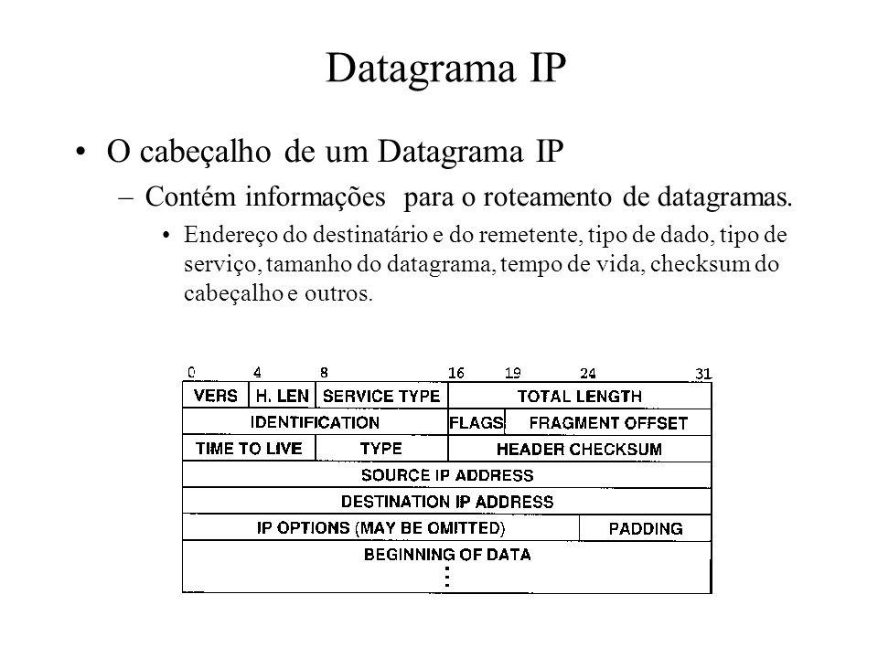Datagrama IP O cabeçalho de um Datagrama IP –Contém informações para o roteamento de datagramas. Endereço do destinatário e do remetente, tipo de dado