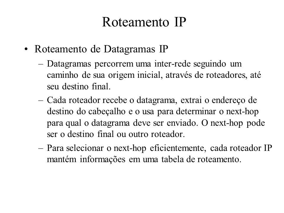 Roteamento IP Roteamento de Datagramas IP –Datagramas percorrem uma inter-rede seguindo um caminho de sua origem inicial, através de roteadores, até s