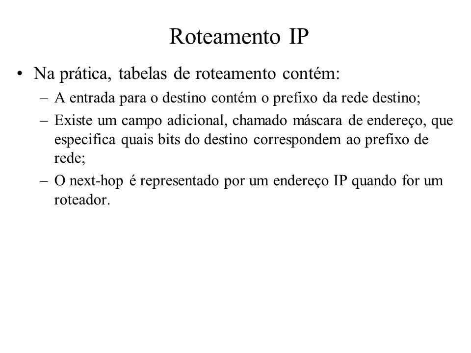 Roteamento IP Na prática, tabelas de roteamento contém: –A entrada para o destino contém o prefixo da rede destino; –Existe um campo adicional, chamad