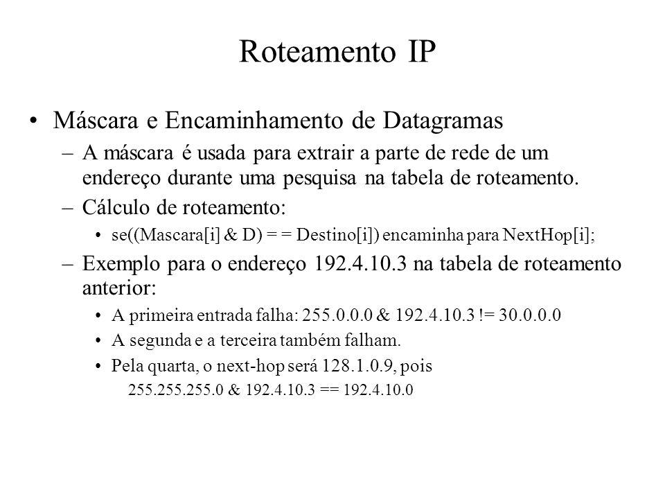 Roteamento IP Máscara e Encaminhamento de Datagramas –A máscara é usada para extrair a parte de rede de um endereço durante uma pesquisa na tabela de