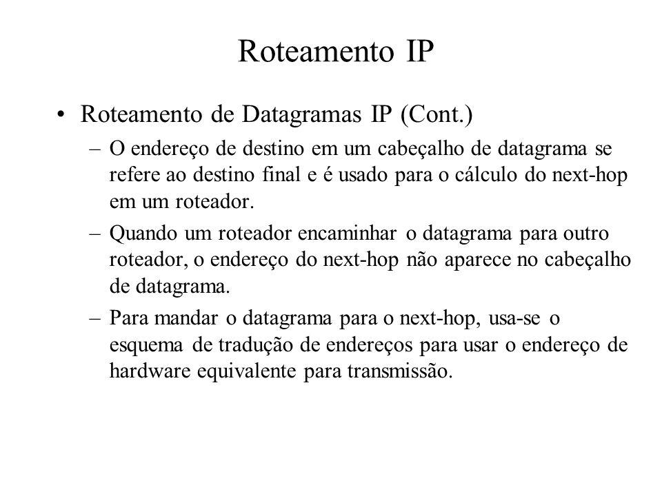 Roteamento IP Roteamento de Datagramas IP (Cont.) –O endereço de destino em um cabeçalho de datagrama se refere ao destino final e é usado para o cálc