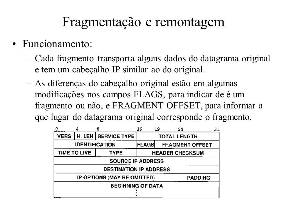 Fragmentação e remontagem Funcionamento: –Cada fragmento transporta alguns dados do datagrama original e tem um cabeçalho IP similar ao do original. –