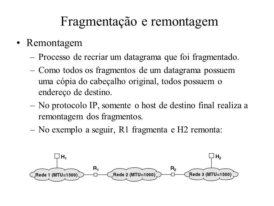 Fragmentação e remontagem Remontagem –Processo de recriar um datagrama que foi fragmentado. –Como todos os fragmentos de um datagrama possuem uma cópi