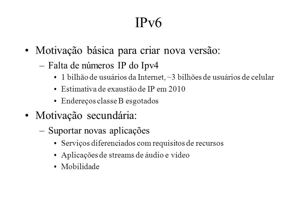 IPv6 Motivação básica para criar nova versão: –Falta de números IP do Ipv4 1 bilhão de usuários da Internet, ~3 bilhões de usuários de celular Estimat