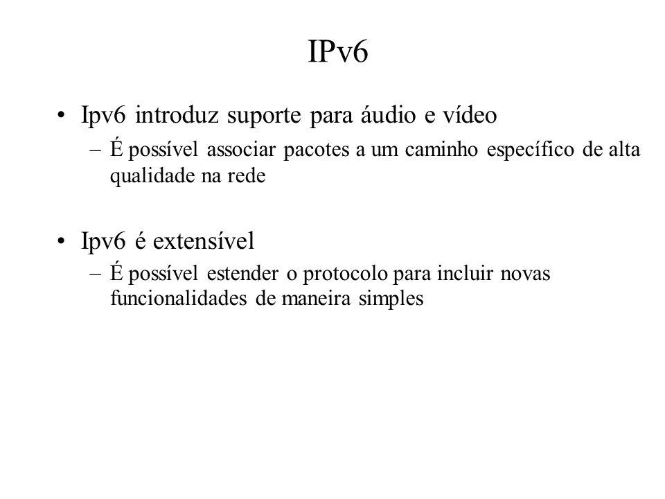 IPv6 Ipv6 introduz suporte para áudio e vídeo –É possível associar pacotes a um caminho específico de alta qualidade na rede Ipv6 é extensível –É poss