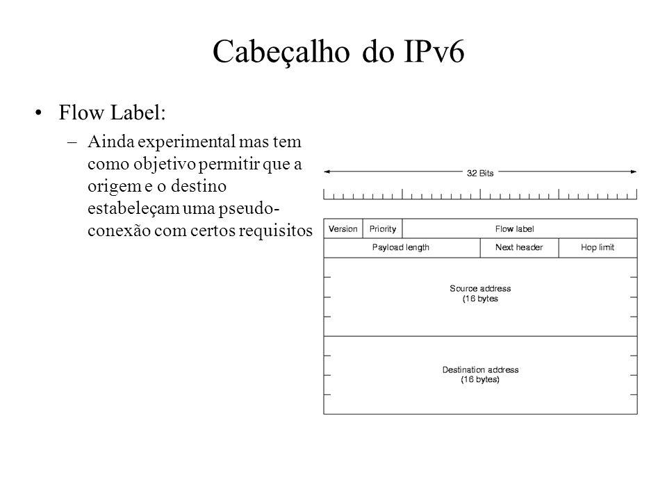 Cabeçalho do IPv6 Flow Label: –Ainda experimental mas tem como objetivo permitir que a origem e o destino estabeleçam uma pseudo- conexão com certos r