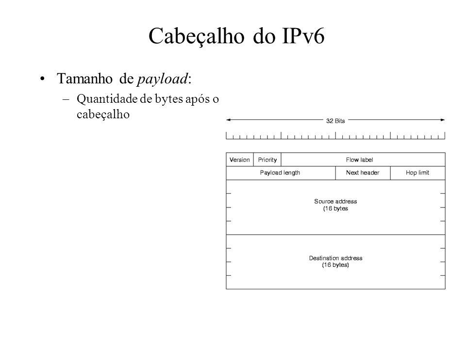 Cabeçalho do IPv6 Tamanho de payload: –Quantidade de bytes após o cabeçalho