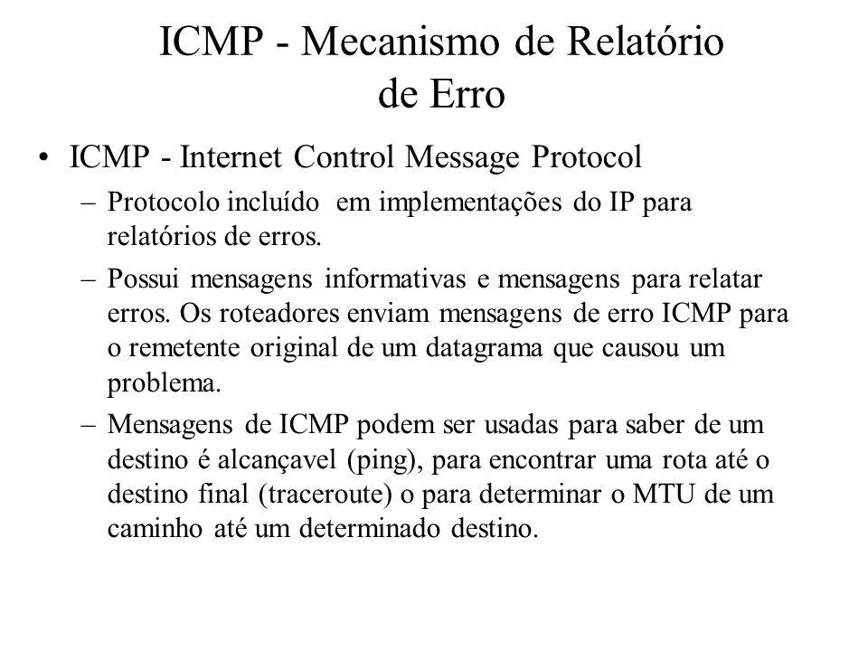 ICMP - Mecanismo de Relatório de Erro ICMP - Internet Control Message Protocol –Protocolo incluído em implementações do IP para relatórios de erros. –