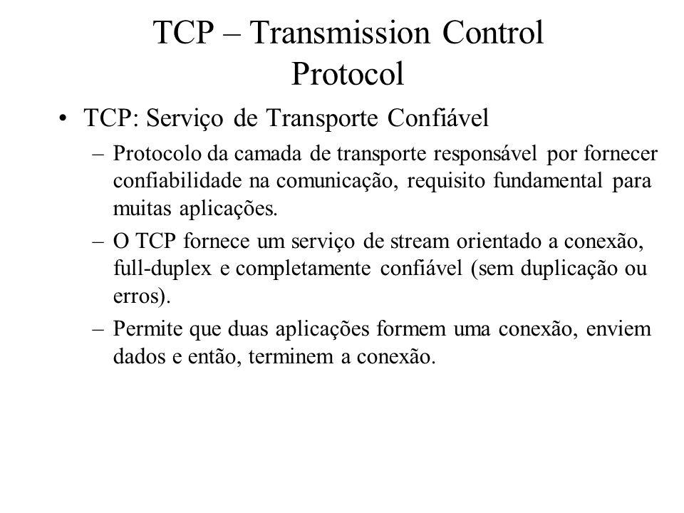 TCP – Transmission Control Protocol TCP: Serviço de Transporte Confiável –Protocolo da camada de transporte responsável por fornecer confiabilidade na