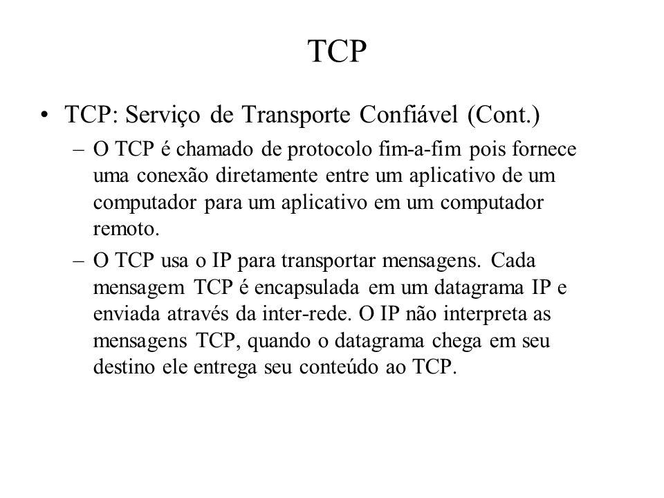 TCP TCP: Serviço de Transporte Confiável (Cont.) –O TCP é chamado de protocolo fim-a-fim pois fornece uma conexão diretamente entre um aplicativo de
