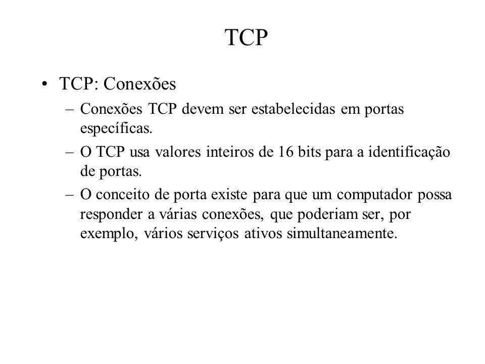 TCP TCP: Conexões –Conexões TCP devem ser estabelecidas em portas específicas. –O TCP usa valores inteiros de 16 bits para a identificação de portas.