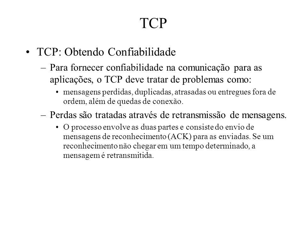 TCP TCP: Obtendo Confiabilidade –Para fornecer confiabilidade na comunicação para as aplicações, o TCP deve tratar de problemas como: mensagens perdid