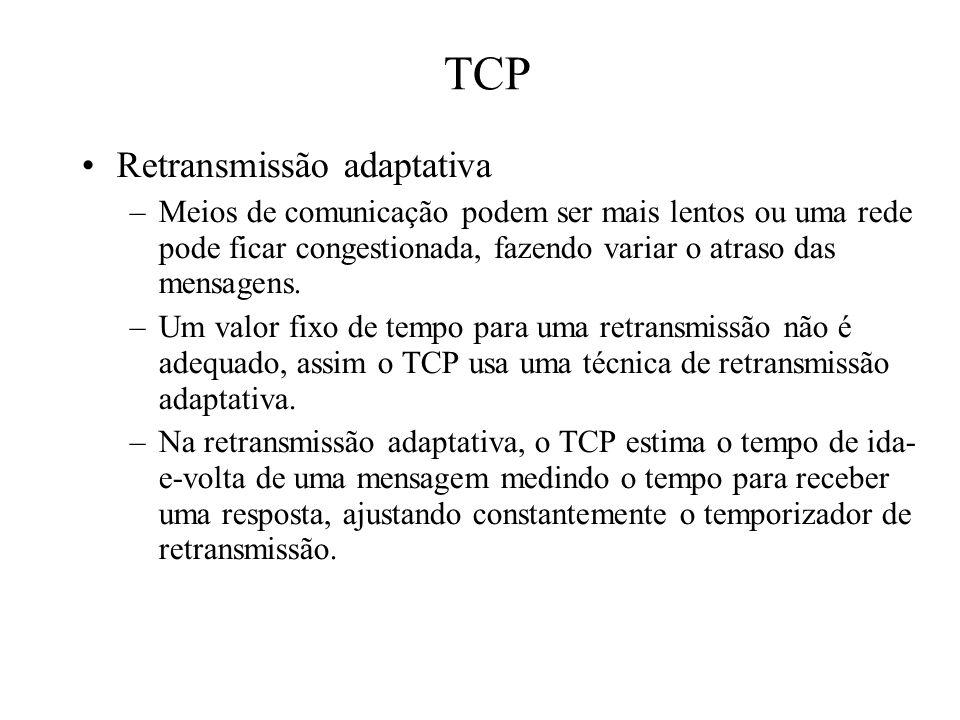 TCP Retransmissão adaptativa –Meios de comunicação podem ser mais lentos ou uma rede pode ficar congestionada, fazendo variar o atraso das mensagens.