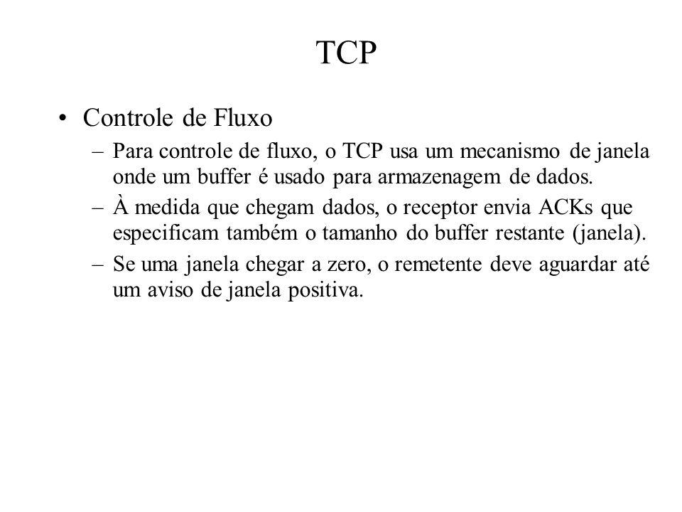 TCP Controle de Fluxo –Para controle de fluxo, o TCP usa um mecanismo de janela onde um buffer é usado para armazenagem de dados. –À medida que chegam