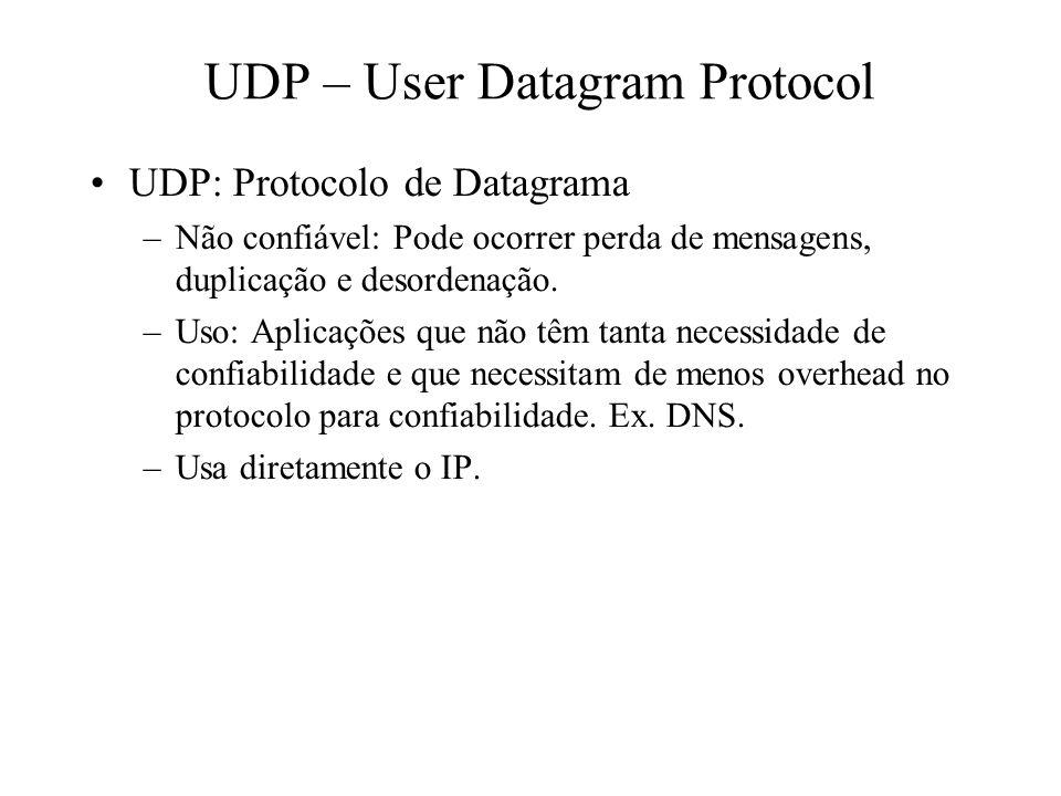 UDP – User Datagram Protocol UDP: Protocolo de Datagrama –Não confiável: Pode ocorrer perda de mensagens, duplicação e desordenação. –Uso: Aplicações