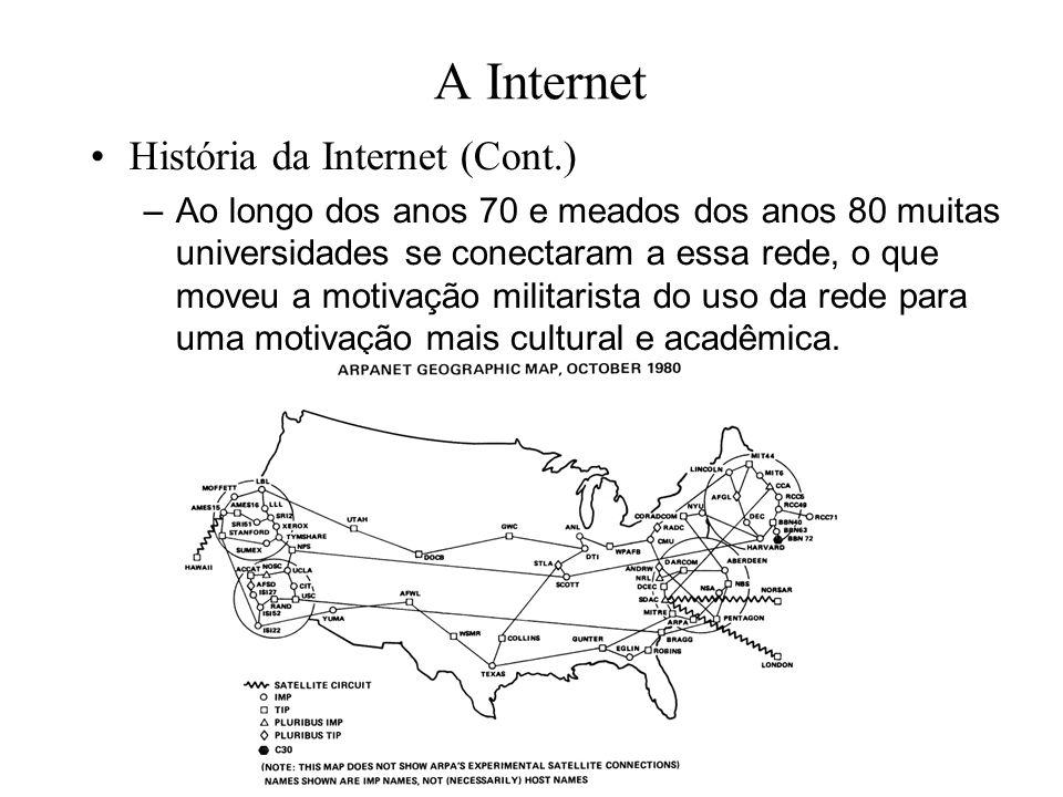 A Internet História da Internet (Cont.) –Ao longo dos anos 70 e meados dos anos 80 muitas universidades se conectaram a essa rede, o que moveu a moti