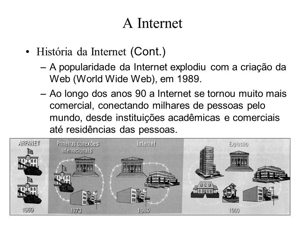 A Internet História da Internet (Cont.) –A popularidade da Internet explodiu com a criação da Web (World Wide Web), em 1989. –Ao longo dos anos 90 a