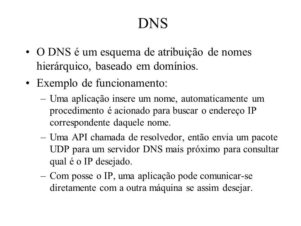 DNS O DNS é um esquema de atribuição de nomes hierárquico, baseado em domínios. Exemplo de funcionamento: –Uma aplicação insere um nome, automaticamen