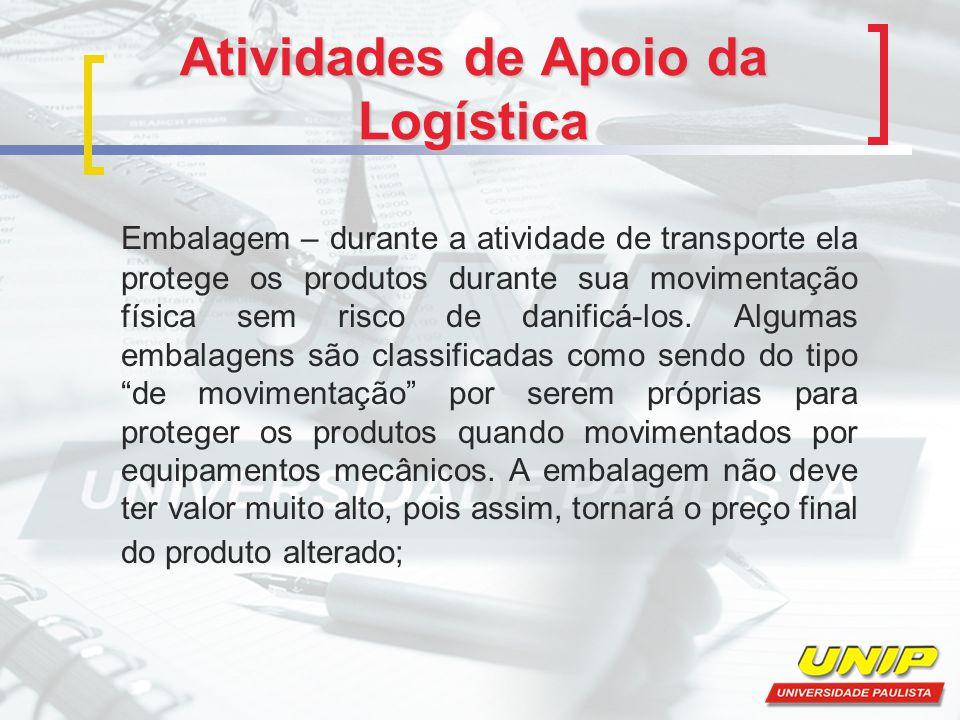 Atividades de Apoio da Logística Embalagem – durante a atividade de transporte ela protege os produtos durante sua movimentação física sem risco de da