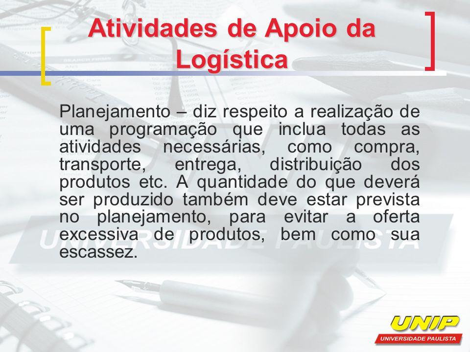 Atividades de Apoio da Logística Sistema de informações – o sucesso das ações logísticas depende de um bom sistema que forneça informações relativas a custos e procedimentos necessários.