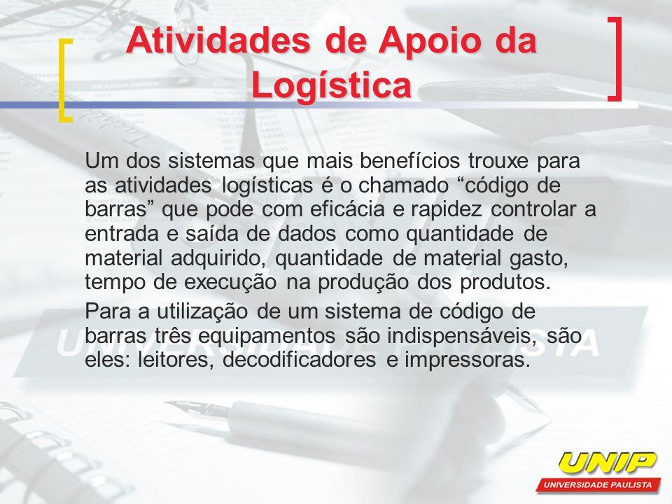 """Atividades de Apoio da Logística Um dos sistemas que mais benefícios trouxe para as atividades logísticas é o chamado """"código de barras"""" que pode com"""