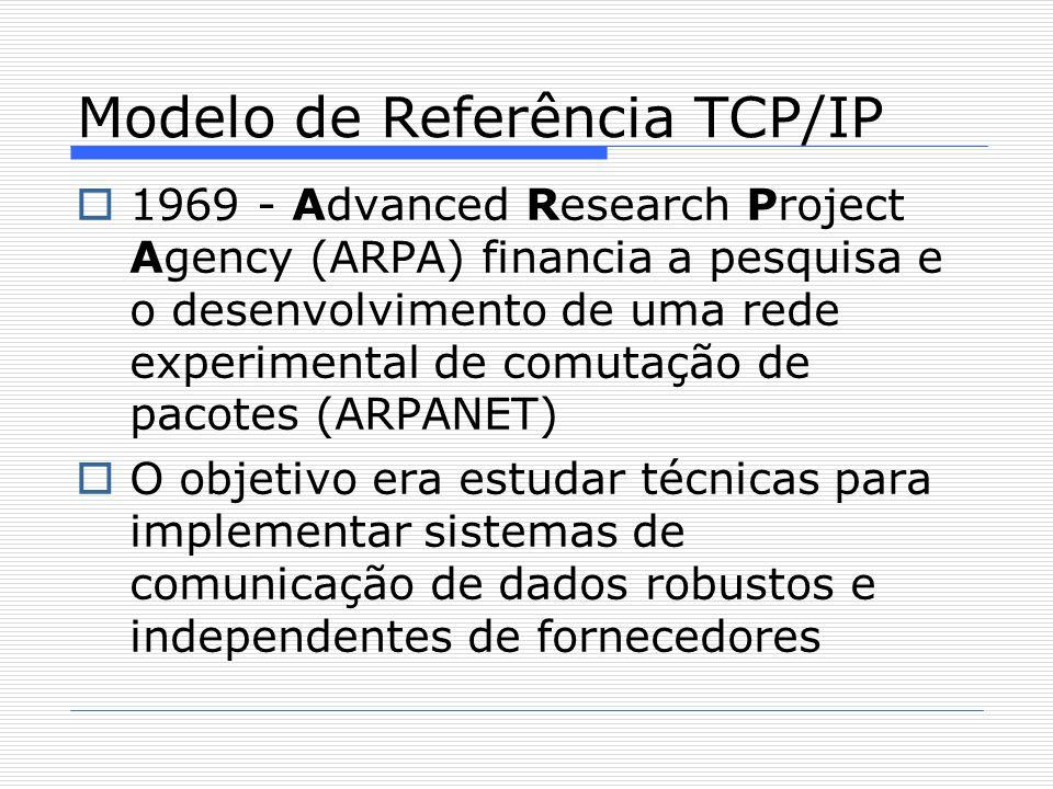  1969 - Advanced Research Project Agency (ARPA) financia a pesquisa e o desenvolvimento de uma rede experimental de comutação de pacotes (ARPANET)   O objetivo era estudar técnicas para implementar sistemas de comunicação de dados robustos e independentes de fornecedores Modelo de Referência TCP/IP